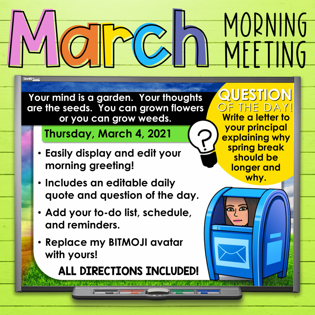 March activities for morning meeting