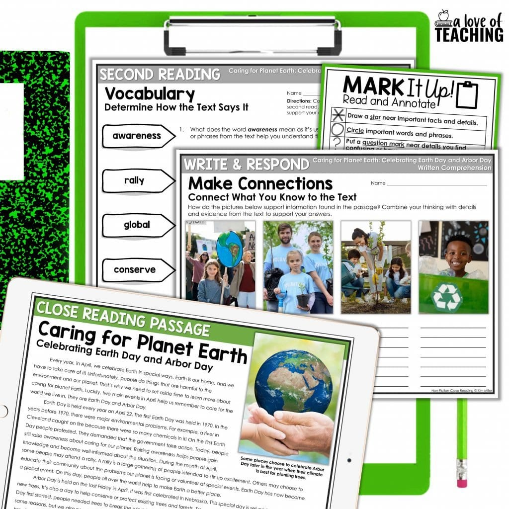 These April activities are perfect for your reading lesson plans as students complete the EArth Day themed close reading passage