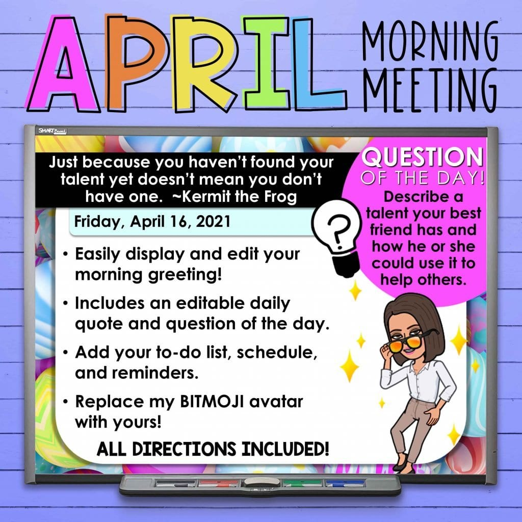 These BITMOJI morning message slides are easily editable to fit your classroom needs and allow you to create a smooth morning routine