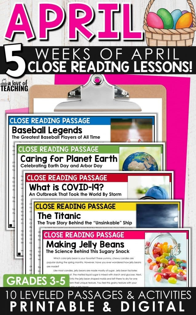 April close reading passages will engage students with the themes and holiday of the month while helping them work on important reading skills