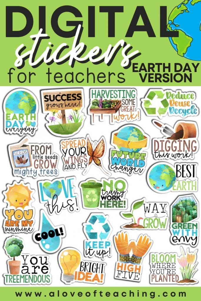 These Earth Day digital stickers are a great encouragement to students when you grade their digital assignments