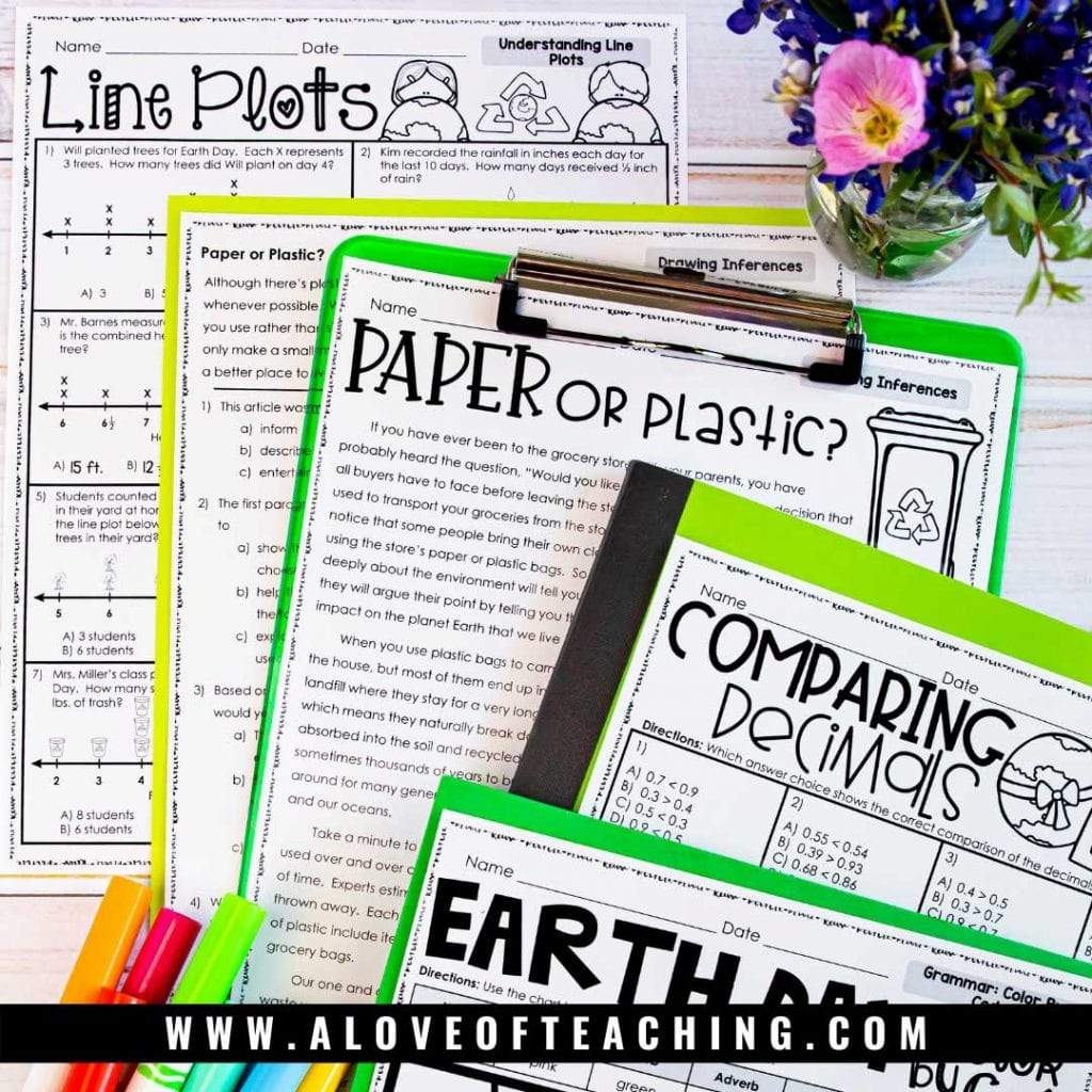 Help students review key math and reading skills with this no prep Earth Day review worksheets