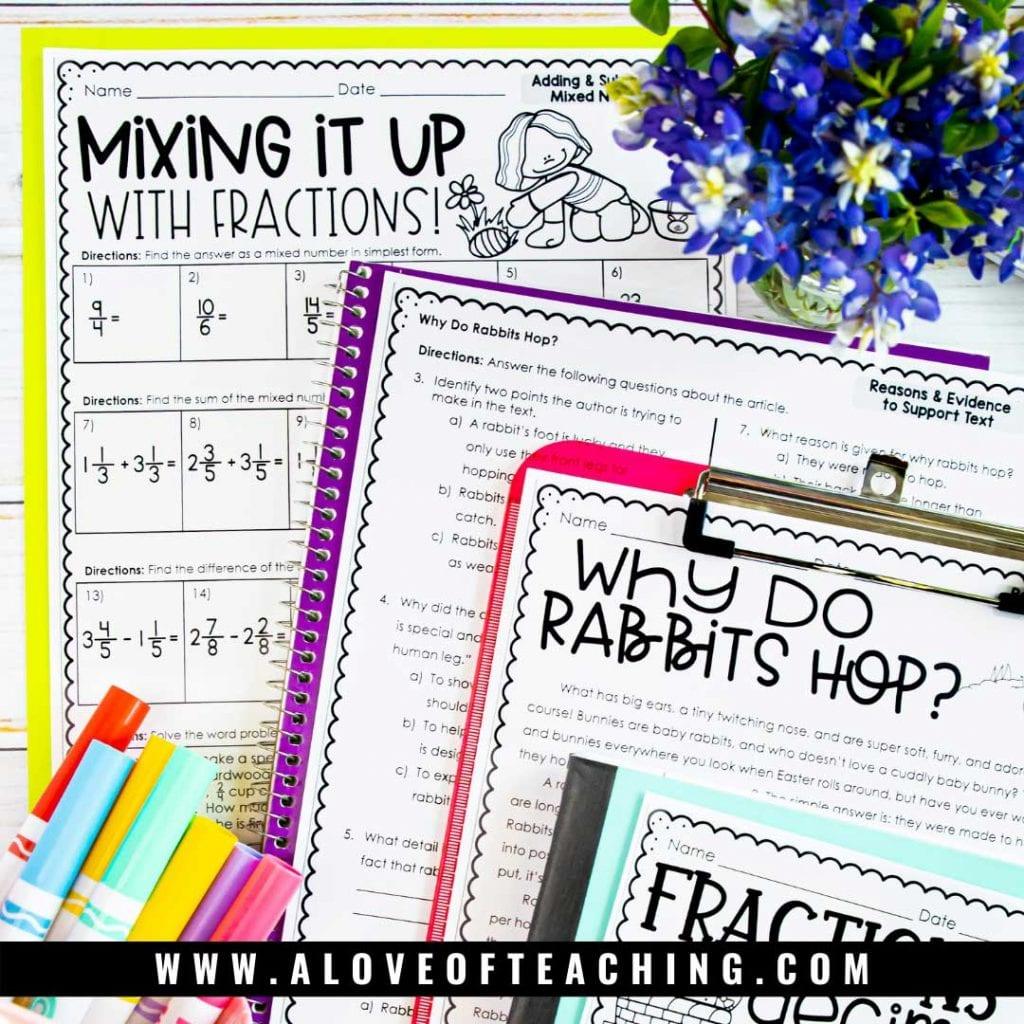 No Prep MAth and Reading activities with an Easter theme make a great skills review for April