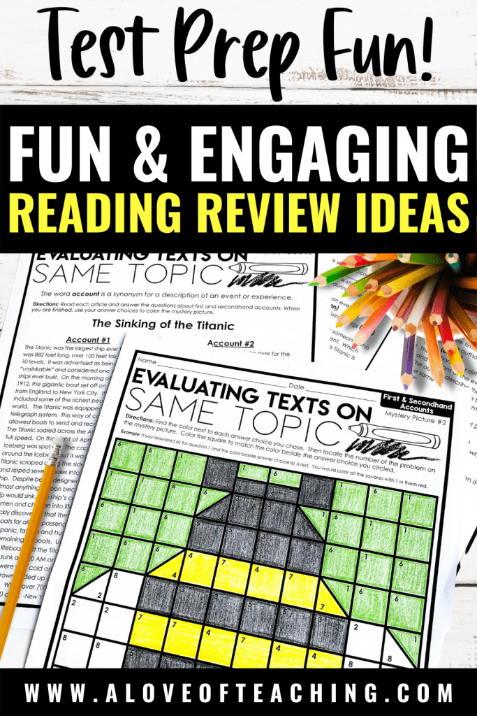 Fun & Engaging Reading Comprehension Activities Perfect for Test Prep Review! Includes test prep games and activities to review reading standards in upper elementary.