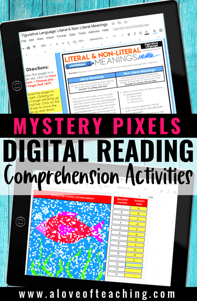Digital reading comprehension passages mystery pixels for the students in 3rd, 4th, and 5th grades.
