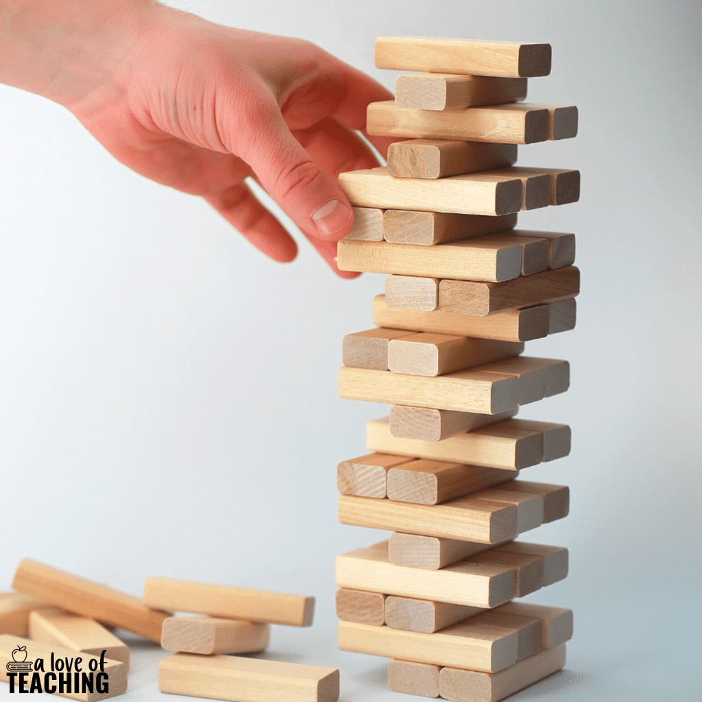 make your own reading game with a Jenga block tower for reading comprehension activities
