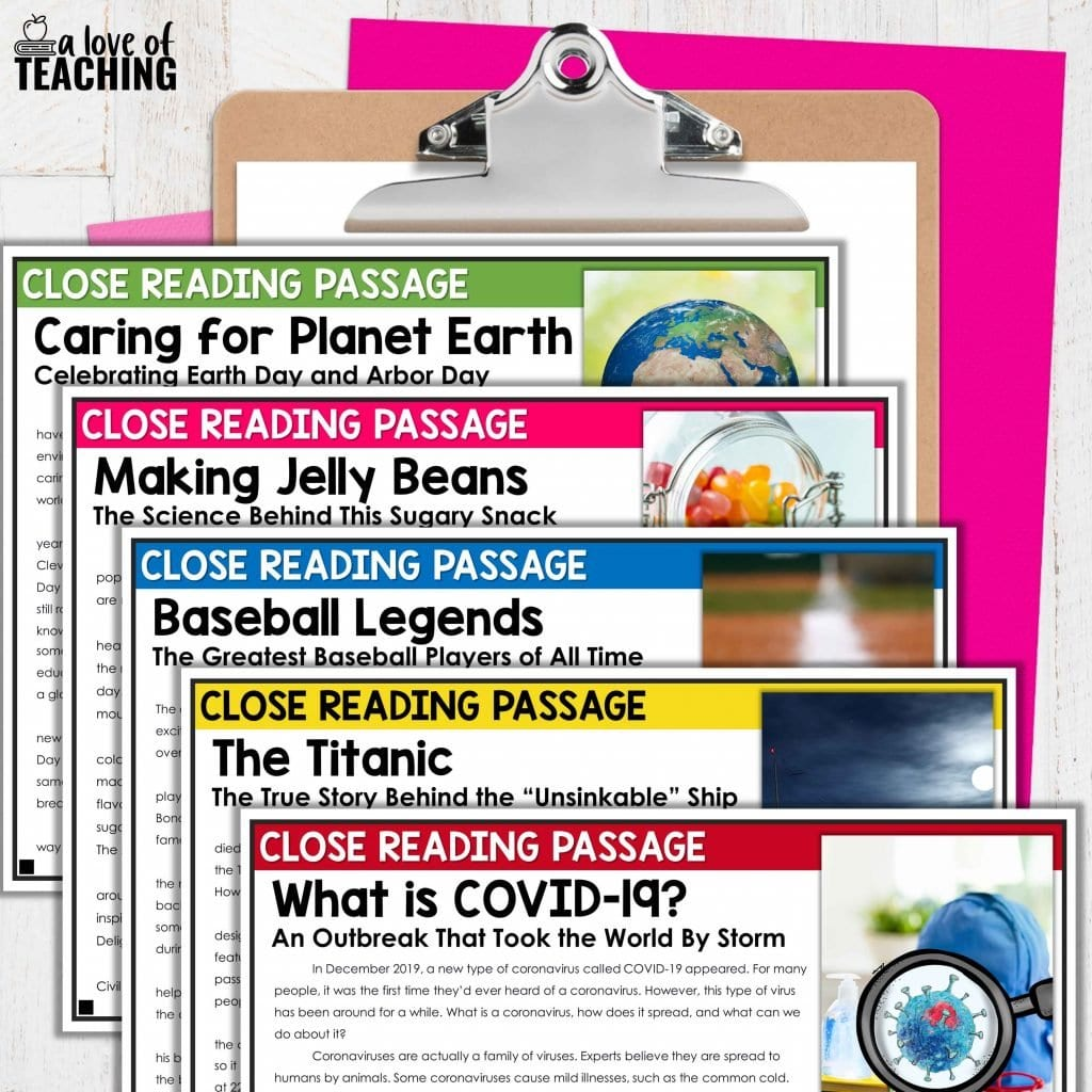 These spring and holiday close reading passages make them great April activities for your reading lesson plans