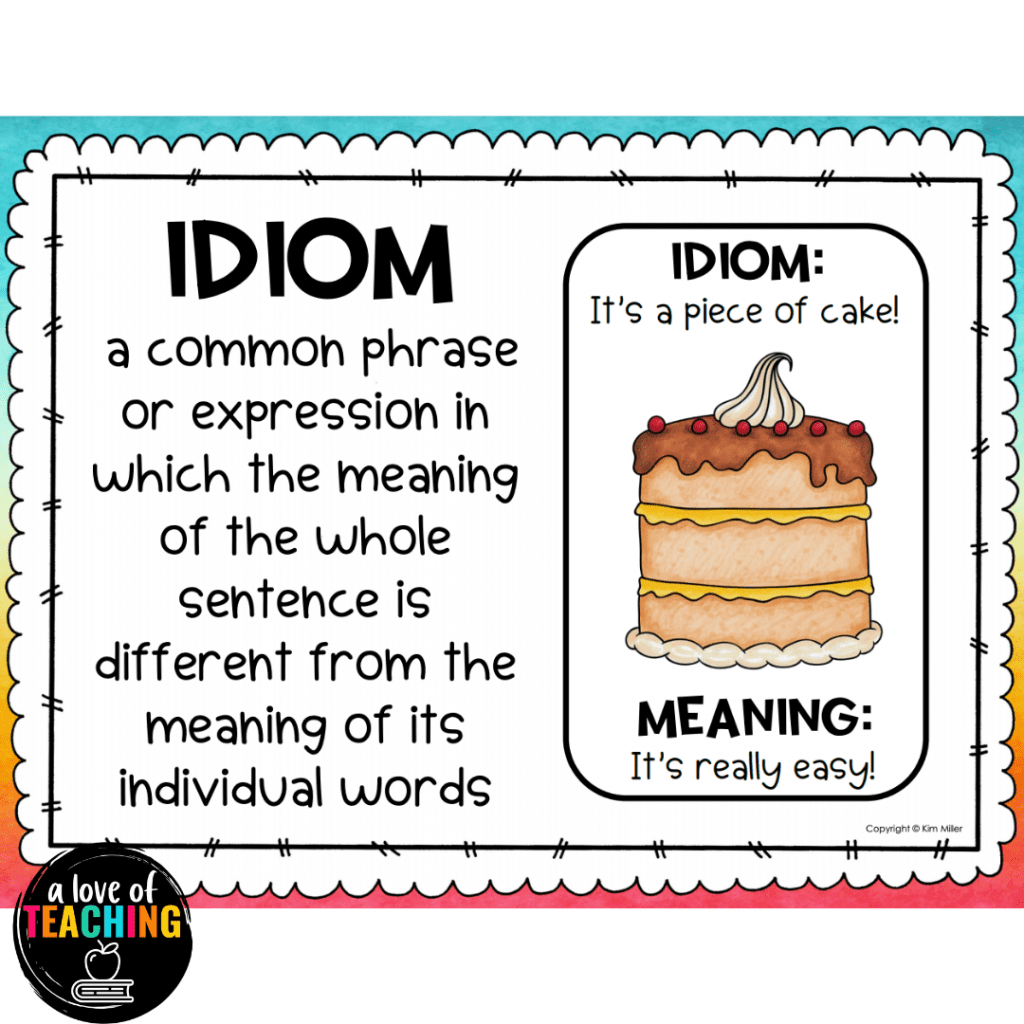 Idiom task card with definition and visual example