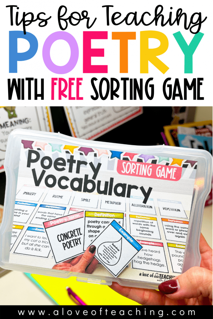 Tips for Teaching Poetry with Free Poetry Vocabulary Game
