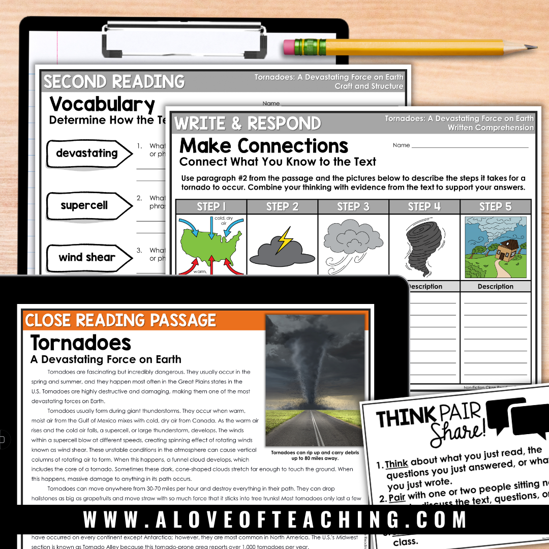 This tornado close read activity is a great way to connect reading and science