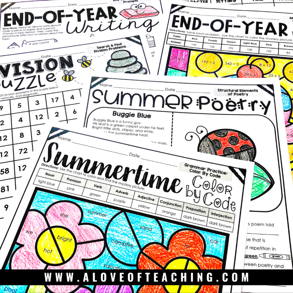 quickly and easily fill those pockets of time with these fun and engaging end of the year review activities