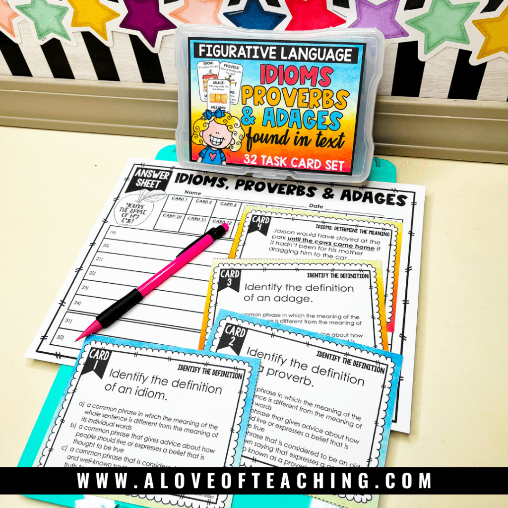 Figurative language task cards are the perfect way to teach or review idioms, adages, and proverbs with your 3rd through 5th grade students.