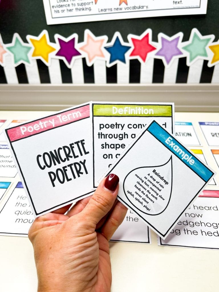 poetry vocabulary matching game free activity
