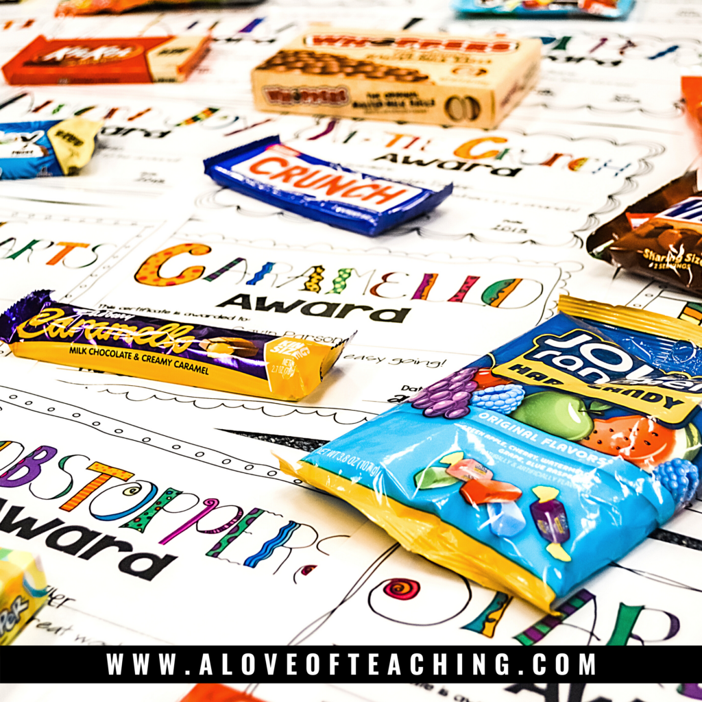 Pair these editable candy bar themed awards with a sweet treat your students are sure to love.