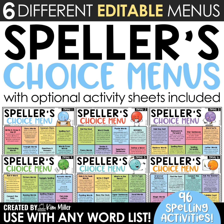 Speller's Choice Menus