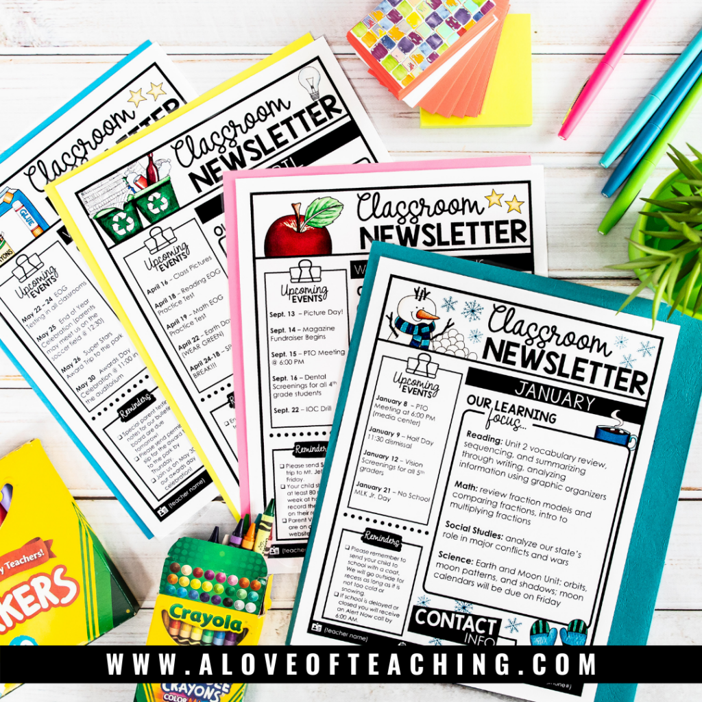 Weekly Classroom Newsletters