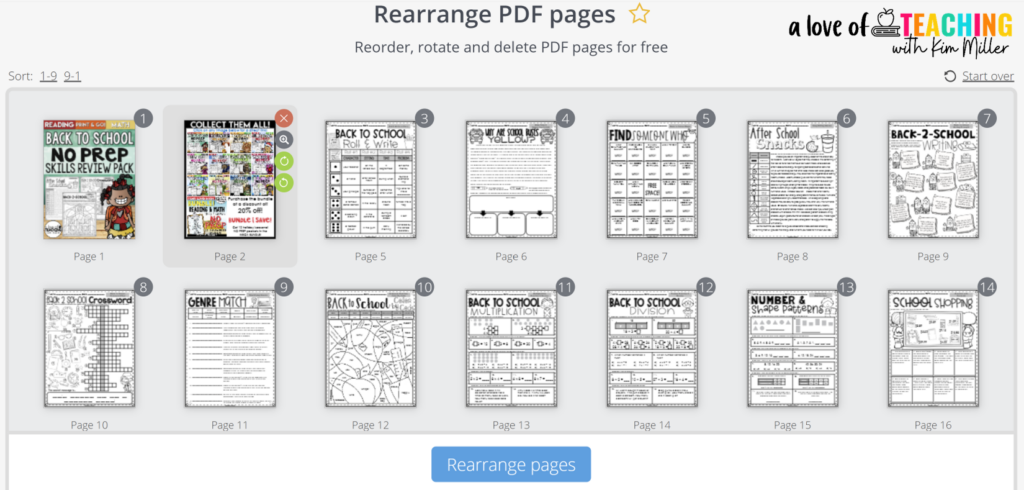 Rearrange Pages of a PDF with PDF Candy