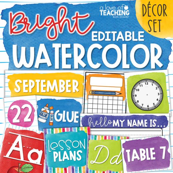 Watercolor Classroom Decor
