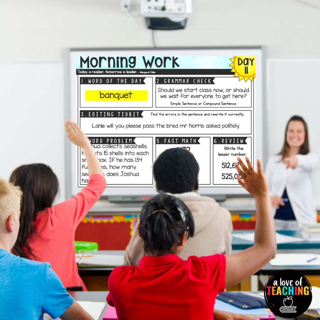 Project morning work and have students answer in a notebook for a no prep easy morning work activity with a spiral skills review
