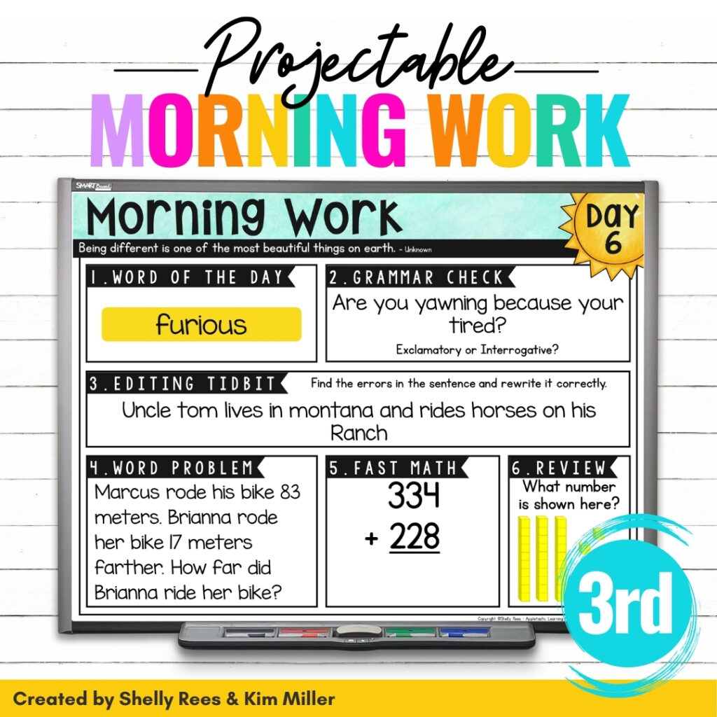 Paperless and Projectable Morning Work for 3rd Grade