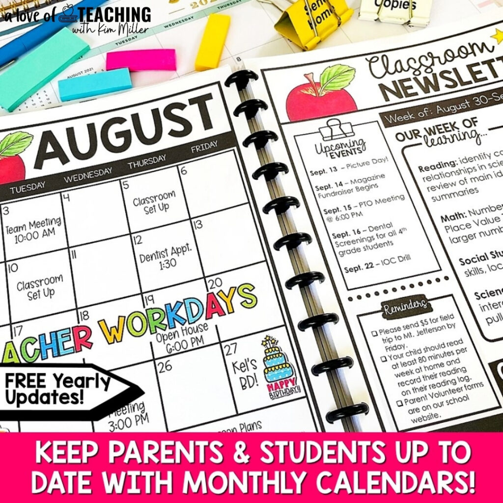 Use a class calendar to keep students and parents informed and up to date on school happenings