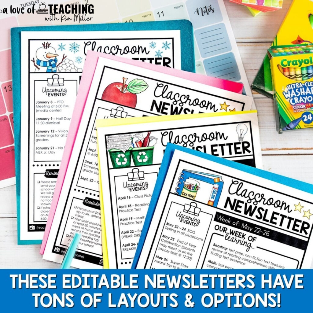 Classroom newsletters are a great communication tool. They help to start the year off stress free.