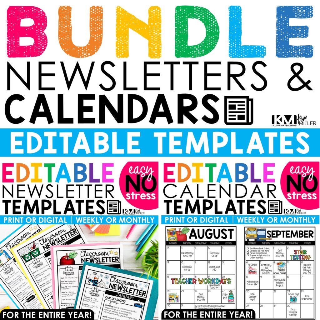 Editable Newsletters and Calendars Bundle