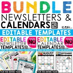 Newsletters and Calendars Editable Templates Bundle | 2021-2022 Back to School