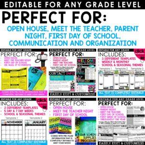 Back to School Editable Bundle | Slideshow, Forms, Letters, Brochures, Newsletters