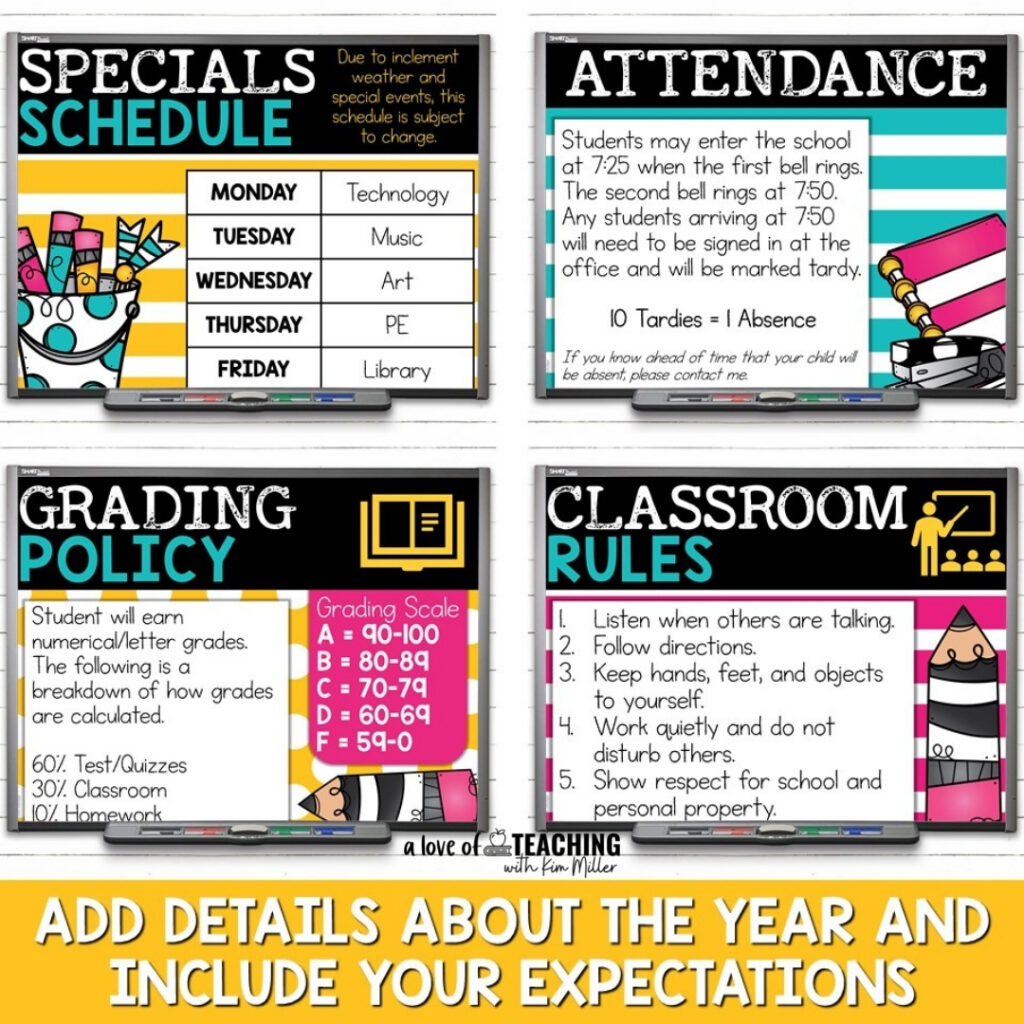 Share important information with students and parents using a slideshow during Open House