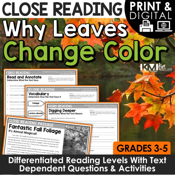 Why Leaves Change Color Close Reading