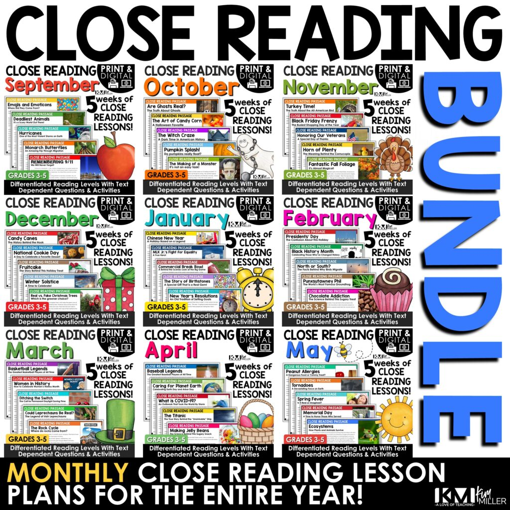 Close Reading Year Long Bundle