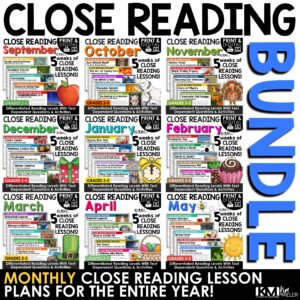 Close Reading Comprehension Passages Print and Google YEAR-LONG BUNDLE