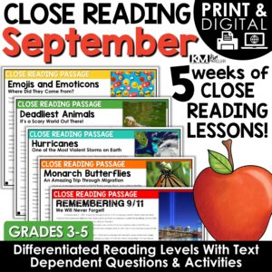 Close Reading Comprehension Passages September Bundle Print | Google