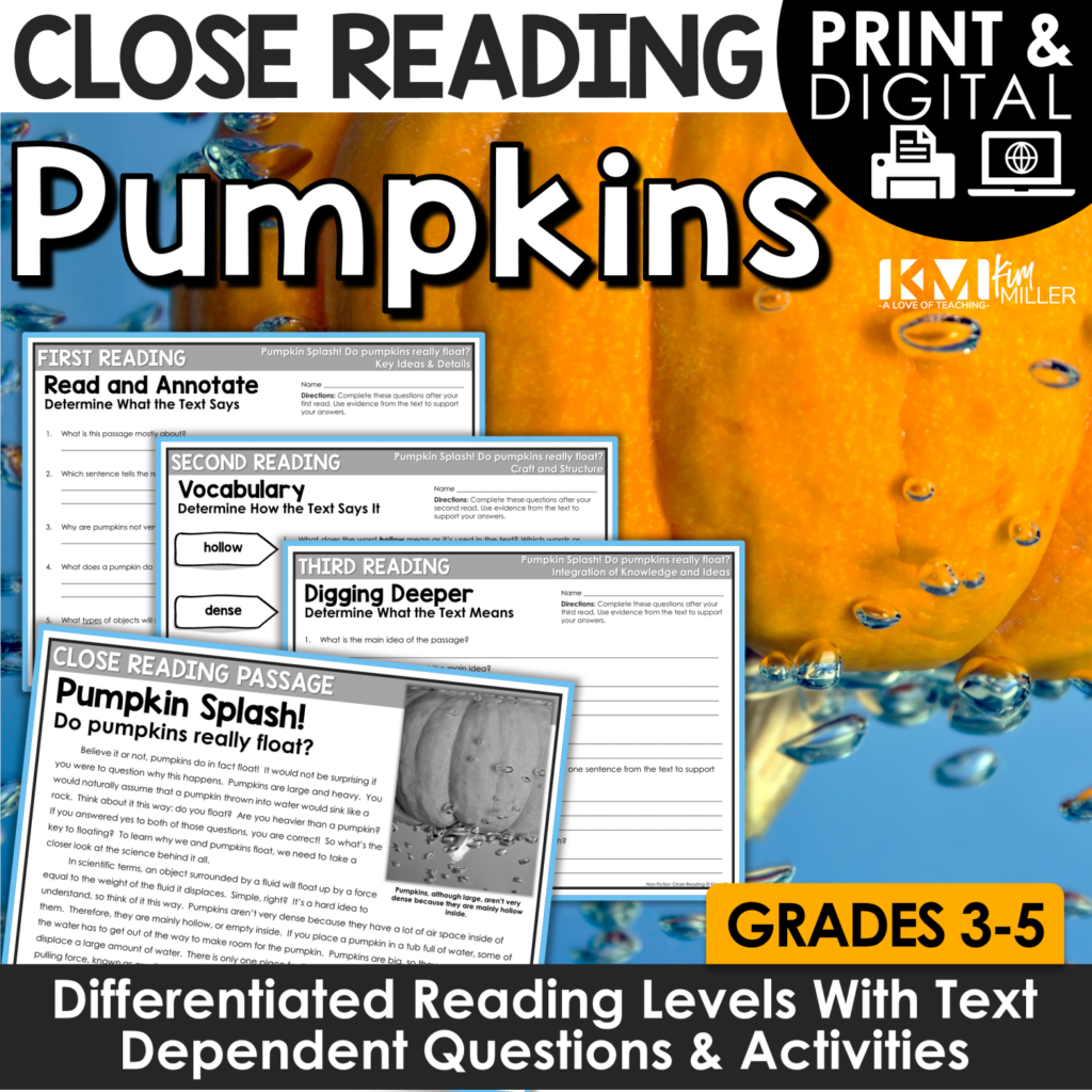 Pumpkin Splash Close Reading