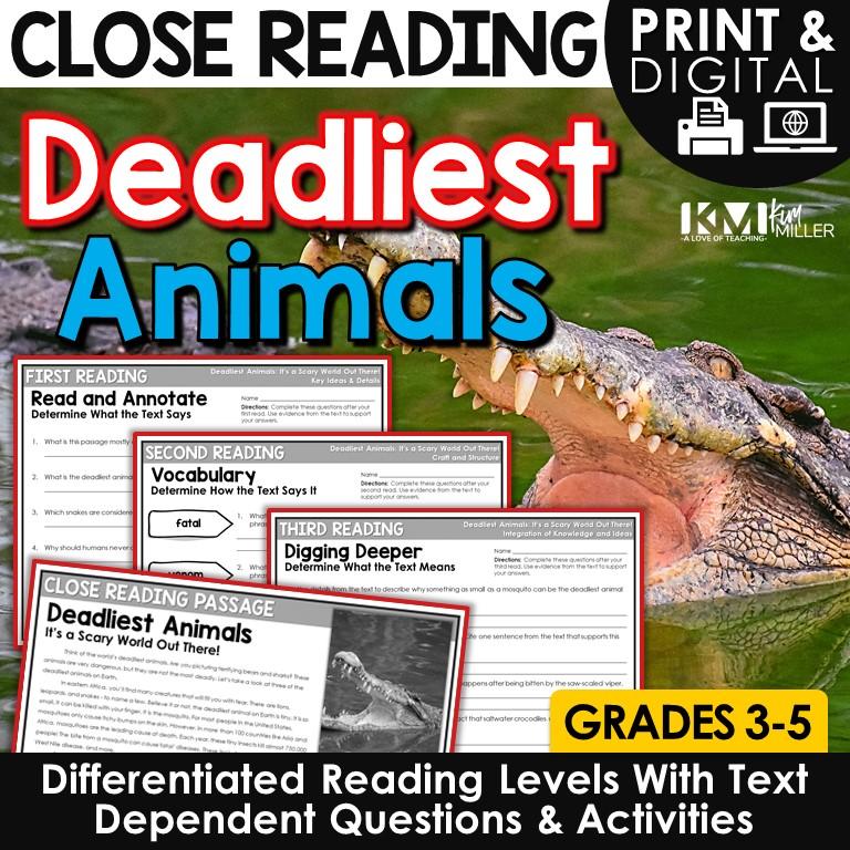 Deadliest Animals Close Reading Lesson Plan